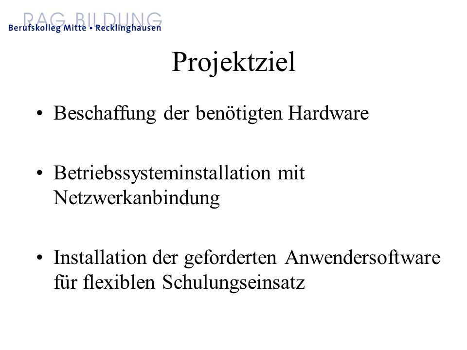 Projektziel Beschaffung der benötigten Hardware Betriebssysteminstallation mit Netzwerkanbindung Installation der geforderten Anwendersoftware für flexiblen Schulungseinsatz