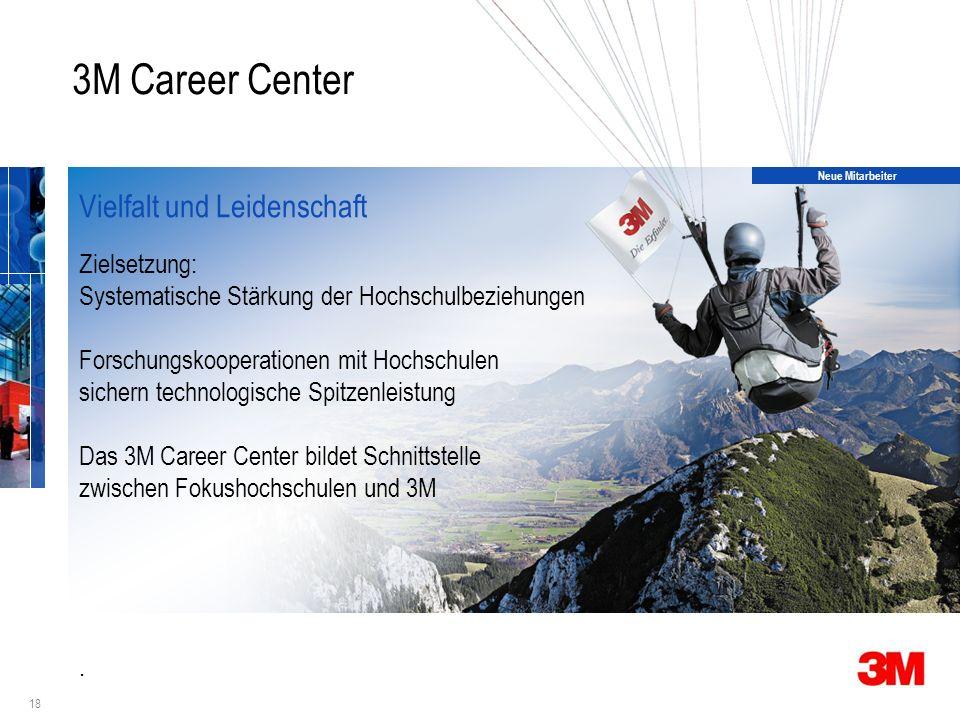18 3M Career Center Vielfalt und Leidenschaft Zielsetzung: Systematische Stärkung der Hochschulbeziehungen Forschungskooperationen mit Hochschulen sichern technologische Spitzenleistung Das 3M Career Center bildet Schnittstelle zwischen Fokushochschulen und 3M.