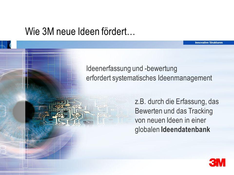 29 Wie 3M neue Ideen fördert… Ideenerfassung und -bewertung erfordert systematisches Ideenmanagement z.B.