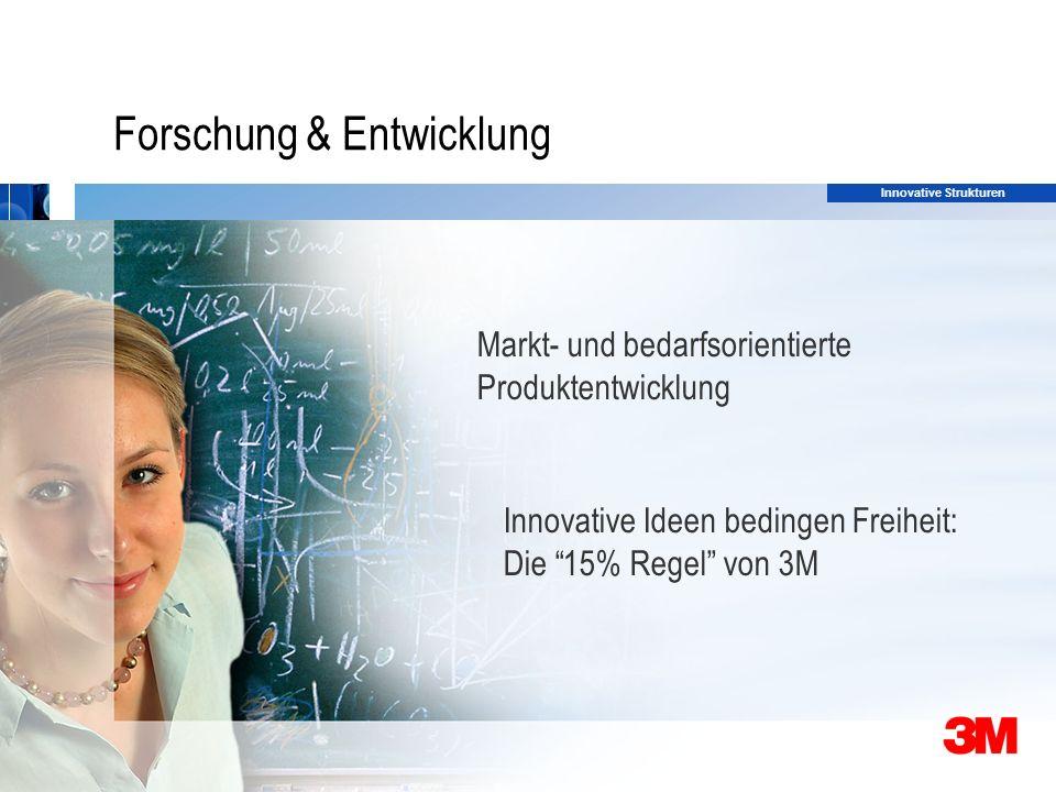 30 Forschung & Entwicklung Markt- und bedarfsorientierte Produktentwicklung Innovative Ideen bedingen Freiheit: Die 15% Regel von 3M Innovative Strukturen