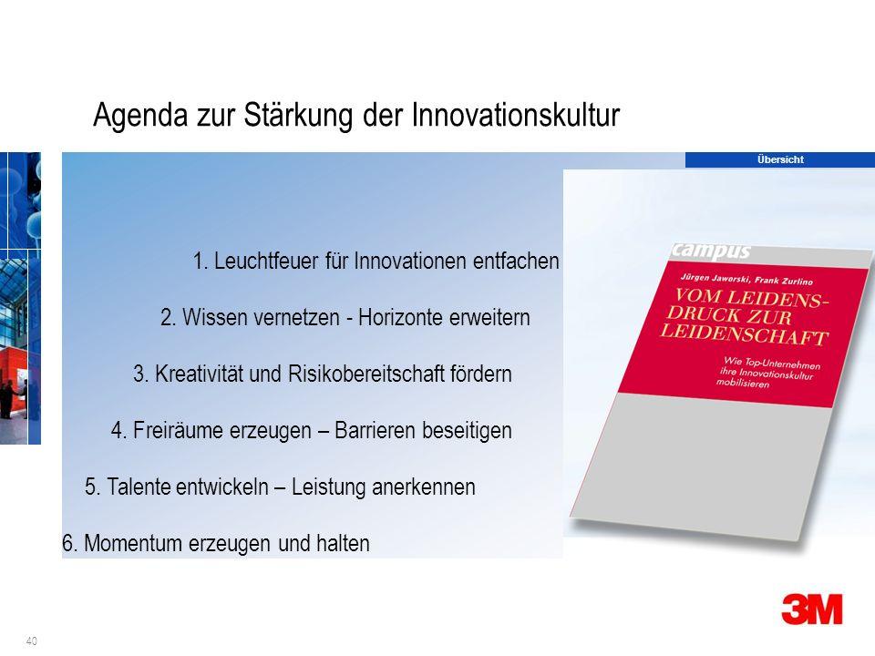 40 Agenda zur Stärkung der Innovationskultur 1. Leuchtfeuer für Innovationen entfachen 2.