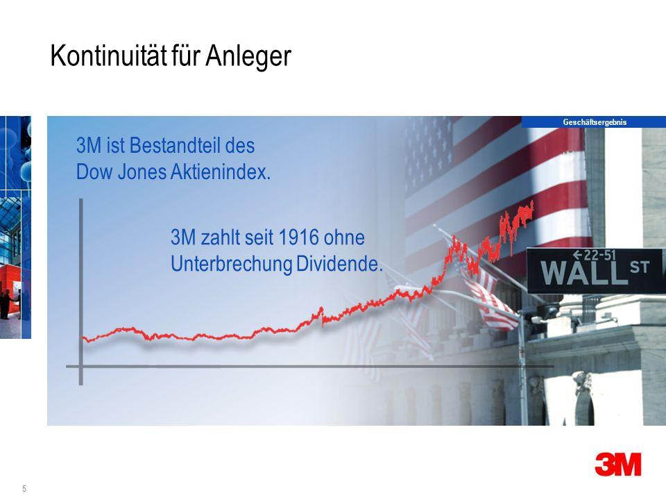 5 Kontinuität für Anleger 3M ist Bestandteil des Dow Jones Aktienindex.
