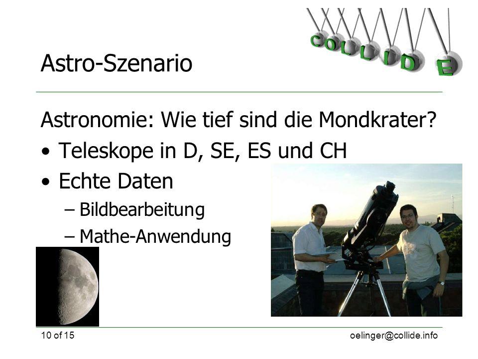 oelinger@collide.info10 of 15 Astro-Szenario Astronomie: Wie tief sind die Mondkrater? Teleskope in D, SE, ES und CH Echte Daten –Bildbearbeitung –Mat