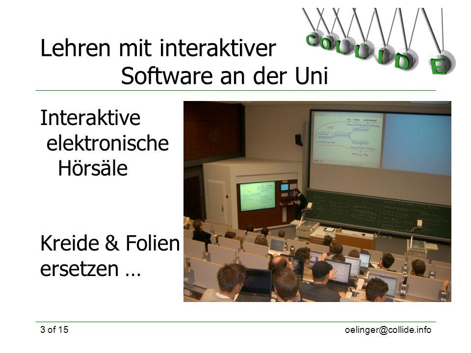oelinger@collide.info3 of 15 Lehren mit interaktiver Software an der Uni Interaktive elektronische Hörsäle Kreide & Folien ersetzen …
