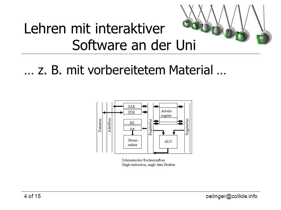 oelinger@collide.info4 of 15 Lehren mit interaktiver Software an der Uni … z. B. mit vorbereitetem Material …