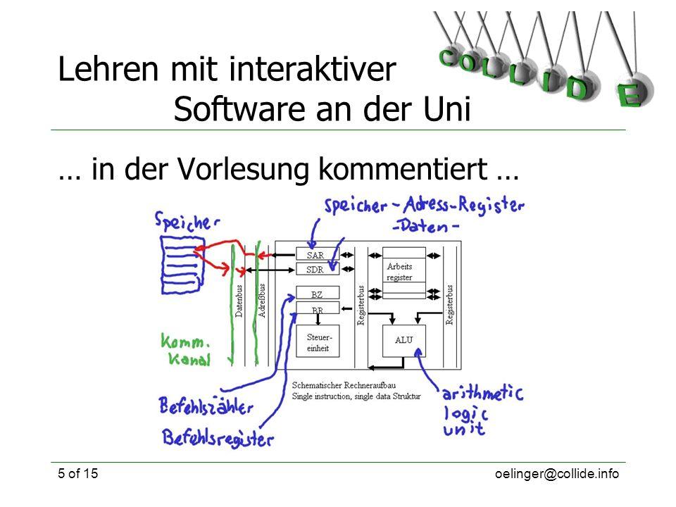 oelinger@collide.info6 of 15 Lehren mit interaktiver Software an der Uni … und wieder verwendet!