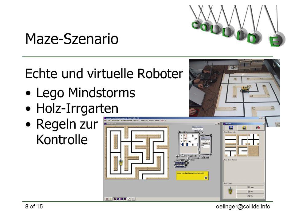 oelinger@collide.info8 of 15 Maze-Szenario Echte und virtuelle Roboter Lego Mindstorms Holz-Irrgarten Regeln zur Kontrolle