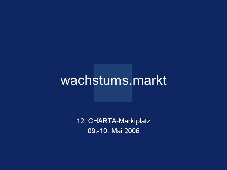 Seite 1 ein.blick 15. Oktober 2005 wachstums.markt 12. CHARTA-Marktplatz 09.-10. Mai 2006