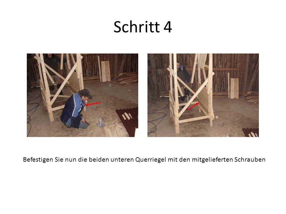 Schritt 4 Befestigen Sie nun die beiden unteren Querriegel mit den mitgelieferten Schrauben