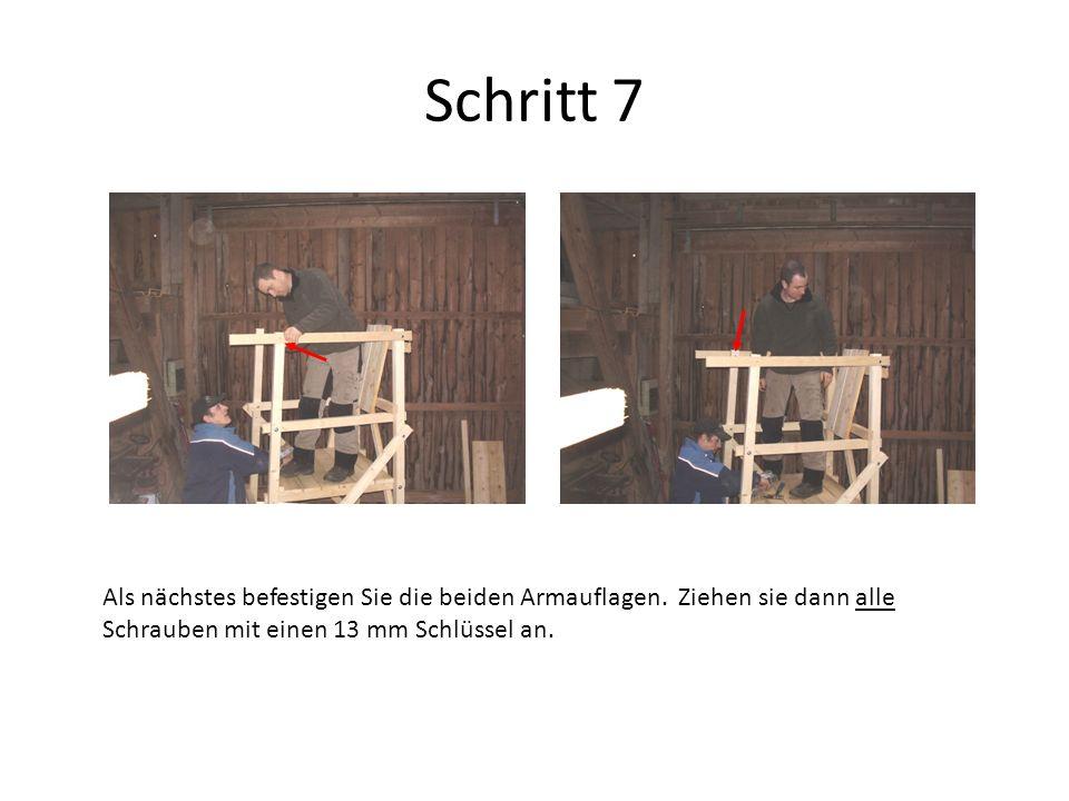 Schritt 8 Legen Sie das Sitzbrett auf und fixieren die Gewehrauflage mit den mitgelieferten Nägeln an Ihrer gewünschten Position.