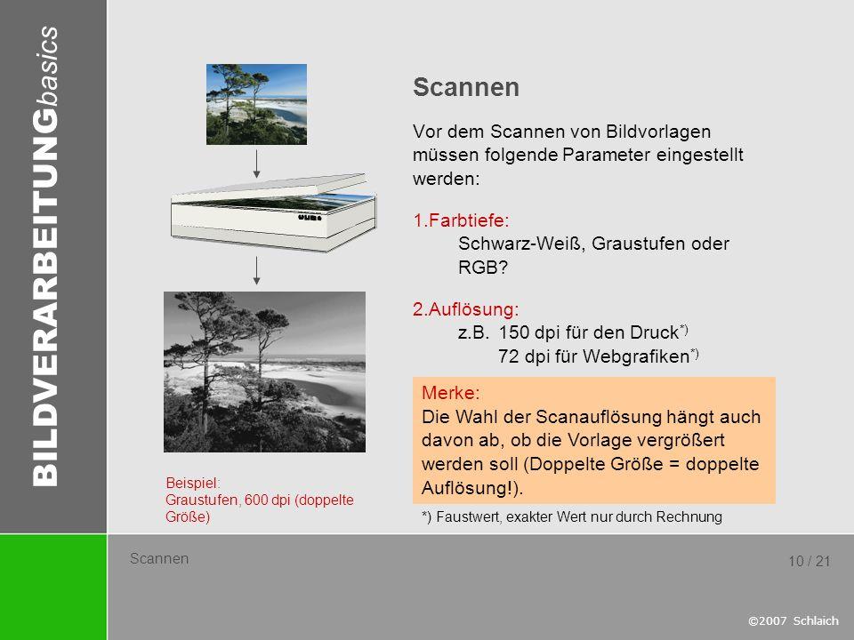 BILDVERARBEITUNG basics ©2007 Schlaich 10 / 21 Scannen Vor dem Scannen von Bildvorlagen müssen folgende Parameter eingestellt werden: 1.Farbtiefe: Sch