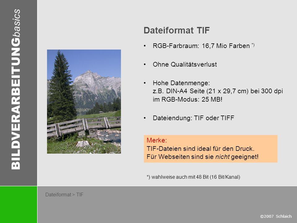 BILDVERARBEITUNG basics ©2007 Schlaich Dateiformat > TIF Dateiformat TIF RGB-Farbraum: 16,7 Mio Farben *) Ohne Qualitätsverlust Hohe Datenmenge: z.B.
