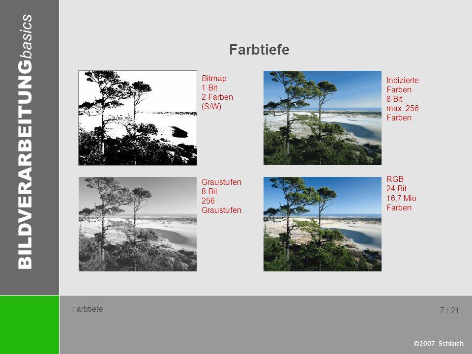 BILDVERARBEITUNG basics ©2007 Schlaich 7 / 21 Farbtiefe Bitmap 1 Bit 2 Farben (S/W) Graustufen 8 Bit 256 Graustufen Indizierte Farben 8 Bit max. 256 F