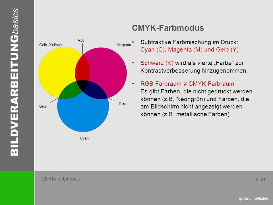 BILDVERARBEITUNG basics ©2007 Schlaich 9 / 21 CMYK-Farbmodus Subtraktive Farbmischung im Druck: Cyan (C), Magenta (M) und Gelb (Y) Schwarz (K) wird al