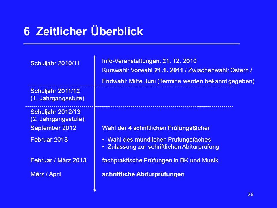 26 6 Zeitlicher Überblick __________________________________ Schuljahr 2010/11 Info-Veranstaltungen: 21. 12. 2010 Kurswahl: Vorwahl 21.1. 2011 / Zwisc