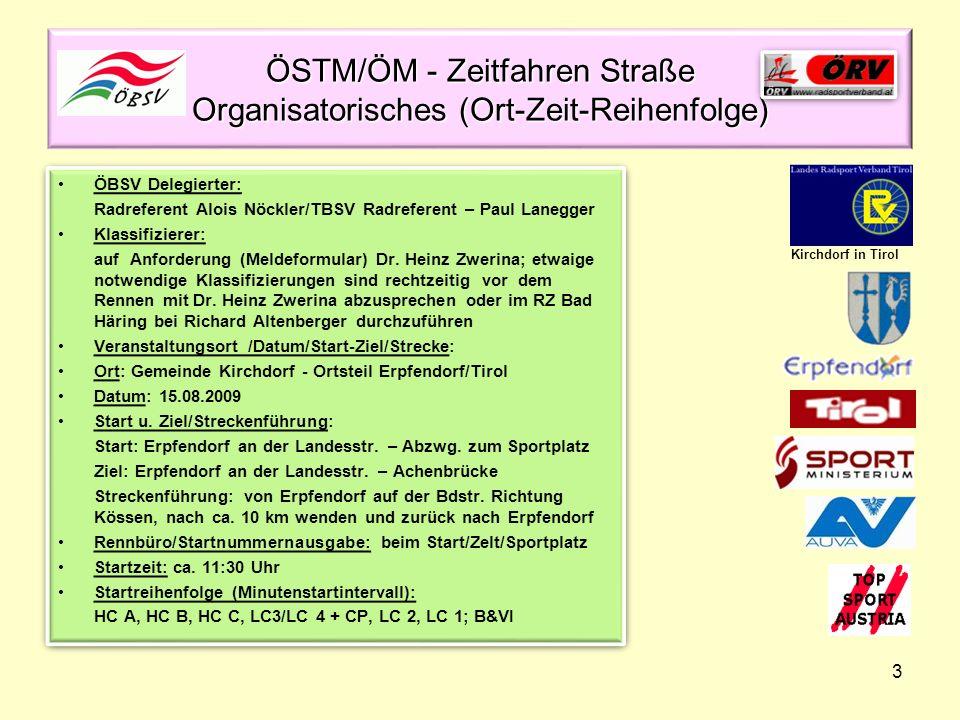 3 ÖSTM/ÖM - Zeitfahren Straße Organisatorisches (Ort-Zeit-Reihenfolge) ÖBSV Delegierter: Radreferent Alois Nöckler/TBSV Radreferent – Paul Lanegger Kl