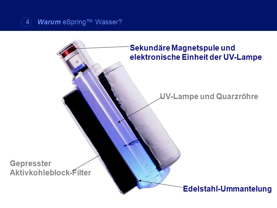 Sekundäre Magnetspule und elektronische Einheit der UV-Lampe UV-Lampe und Quarzröhre Gepresster Aktivkohleblock-Filter Edelstahl-Ummantelung 4 Warum e