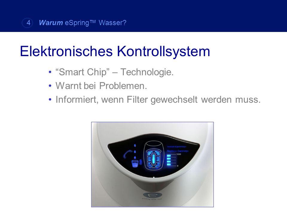 Smart Chip – Technologie. Warnt bei Problemen. Informiert, wenn Filter gewechselt werden muss. Elektronisches Kontrollsystem 4 Warum eSpring Wasser?