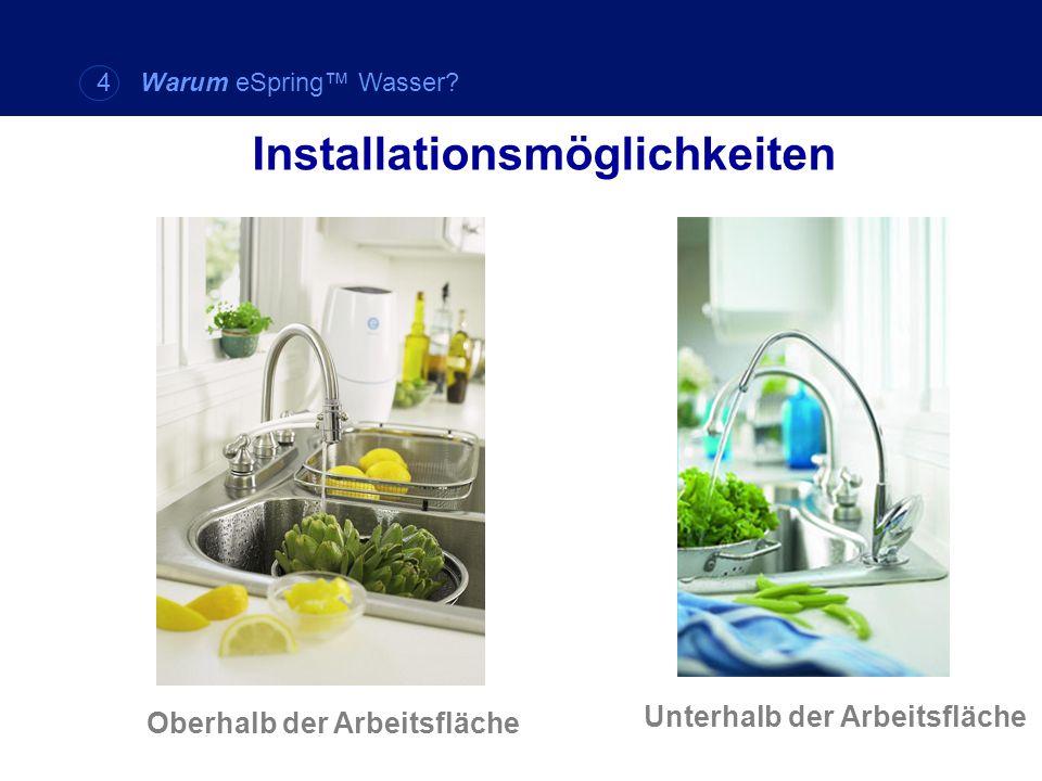 Unterhalb der Arbeitsfläche Installationsmöglichkeiten Oberhalb der Arbeitsfläche 4 Warum eSpring Wasser?