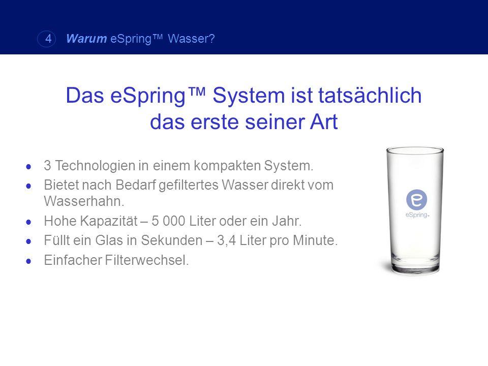 Das eSpring System ist tatsächlich das erste seiner Art 3 Technologien in einem kompakten System. Bietet nach Bedarf gefiltertes Wasser direkt vom Was