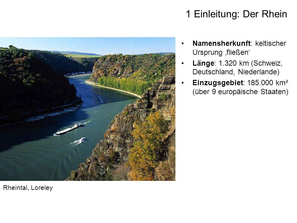 Namensherkunft: keltischer Ursprung fließen Länge: 1.320 km (Schweiz, Deutschland, Niederlande) Einzugsgebiet: 185.000 km² (über 9 europäische Staaten