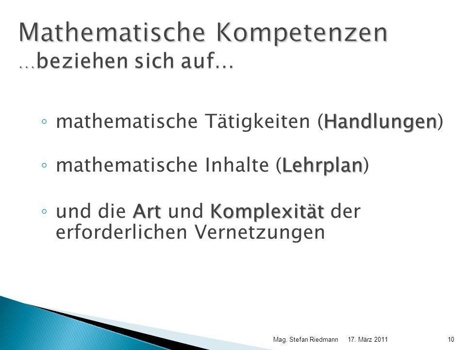 17. März 2011Mag. Stefan Riedmann10 Mathematische Kompetenzen … beziehen sich auf… Handlungen mathematische Tätigkeiten (Handlungen) Lehrplan mathemat