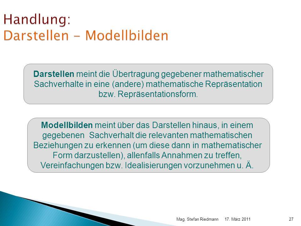 17. März 2011Mag. Stefan Riedmann27 Handlung: Darstellen - Modellbilden Darstellen meint die Übertragung gegebener mathematischer Sachverhalte in eine