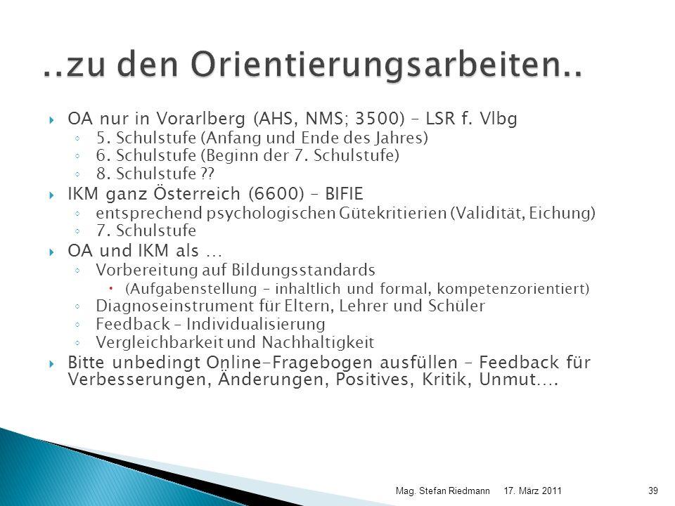OA nur in Vorarlberg (AHS, NMS; 3500) – LSR f. Vlbg 5. Schulstufe (Anfang und Ende des Jahres) 6. Schulstufe (Beginn der 7. Schulstufe) 8. Schulstufe