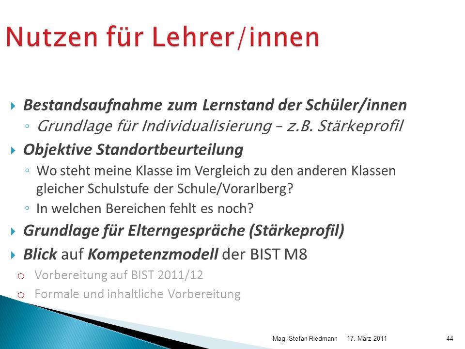 17. März 2011Mag. Stefan Riedmann44 Nutzen für Lehrer/innen Bestandsaufnahme zum Lernstand der Schüler/innen Grundlage für Individualisierung – z.B. S