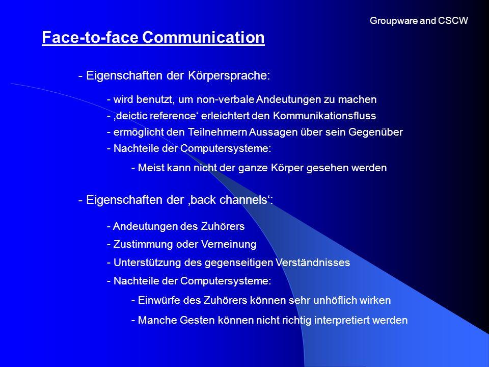 Face-to-face Communication Groupware and CSCW - Eigenschaften der Körpersprache: - Eigenschaften der back channels: - wird benutzt, um non-verbale And