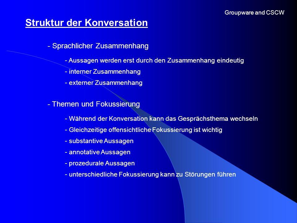 Groupware and CSCW - Sprachlicher Zusammenhang - Aussagen werden erst durch den Zusammenhang eindeutig - interner Zusammenhang Struktur der Konversati