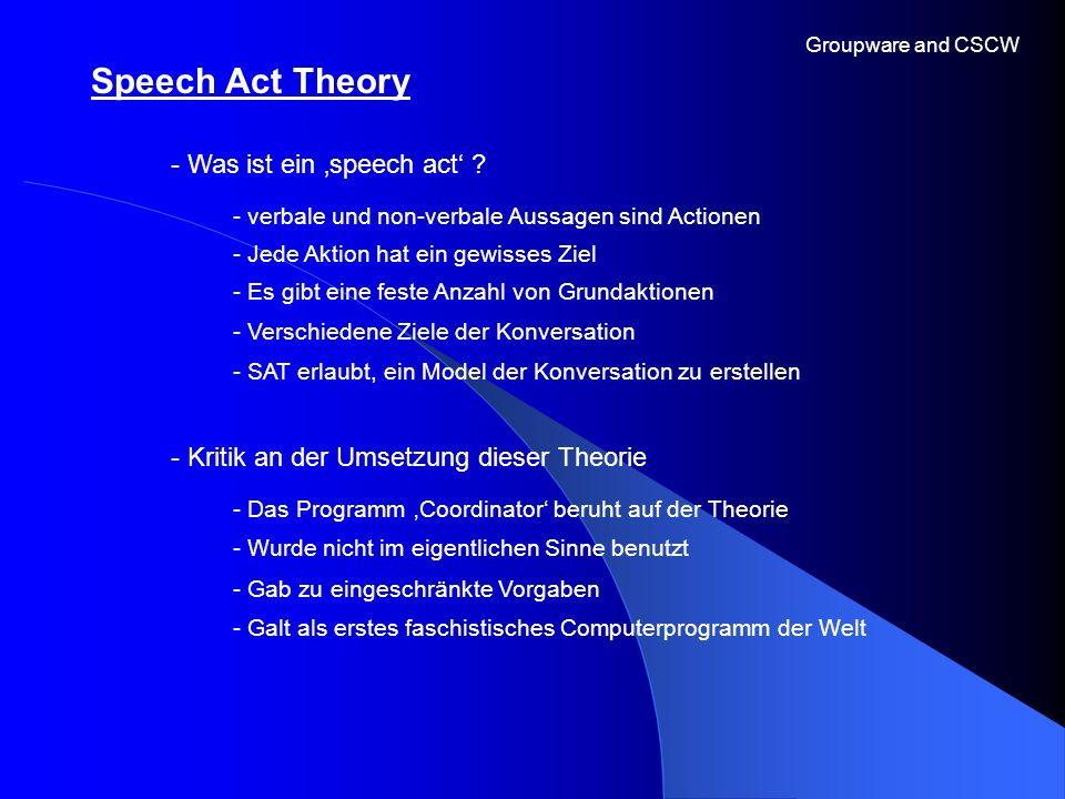 Groupware and CSCW - Was ist ein speech act ? - Jede Aktion hat ein gewisses Ziel Speech Act Theory - verbale und non-verbale Aussagen sind Actionen -