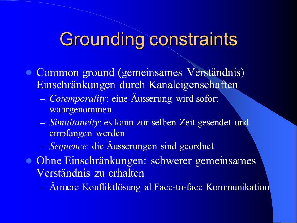 Grounding constraints Common ground (gemeinsames Verständnis) Einschränkungen durch Kanaleigenschaften – Cotemporality: eine Äusserung wird sofort wah