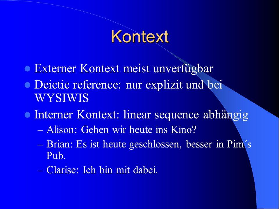 Kontext Externer Kontext meist unverfügbar Deictic reference: nur explizit und bei WYSIWIS Interner Kontext: linear sequence abhängig – Alison: Gehen