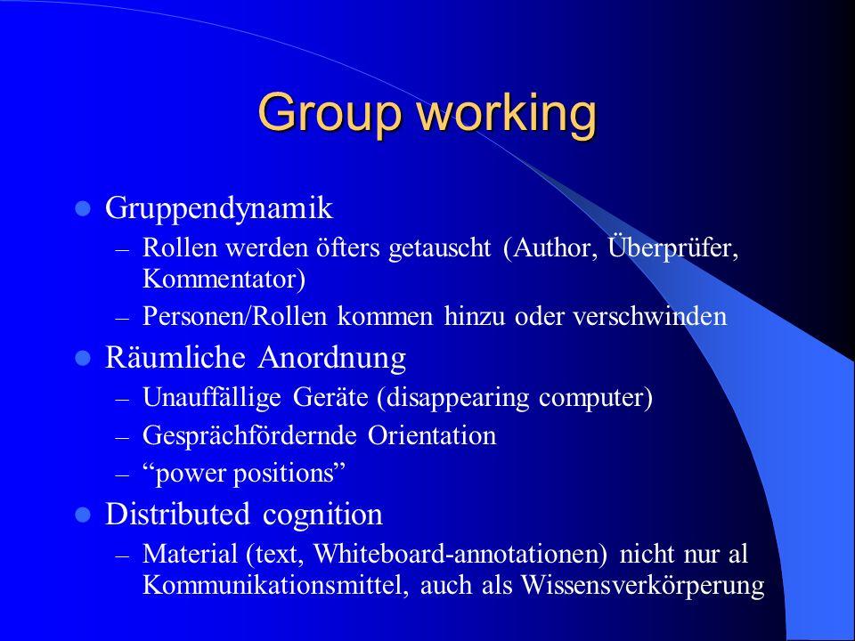 Group working Gruppendynamik – Rollen werden öfters getauscht (Author, Überprüfer, Kommentator) – Personen/Rollen kommen hinzu oder verschwinden Räuml