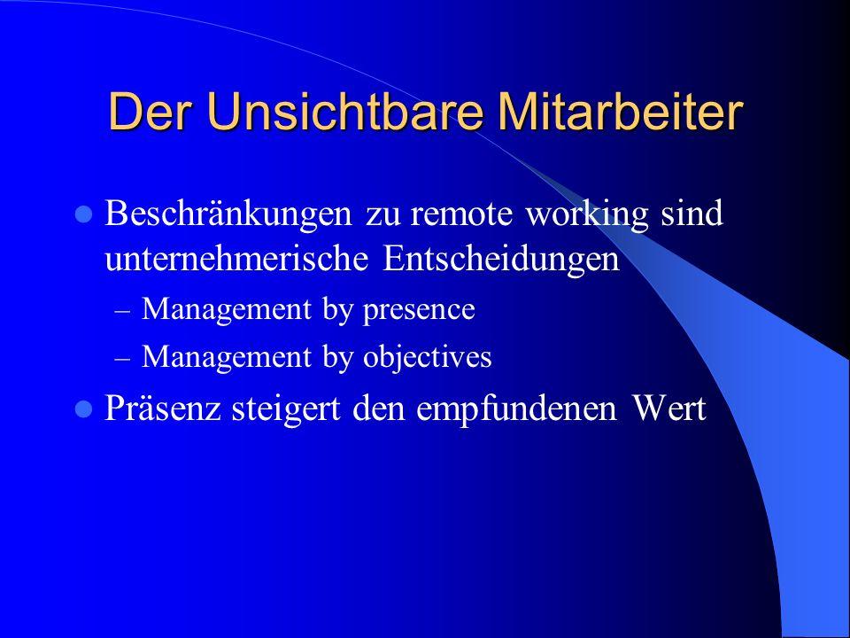 Der Unsichtbare Mitarbeiter Beschränkungen zu remote working sind unternehmerische Entscheidungen – Management by presence – Management by objectives