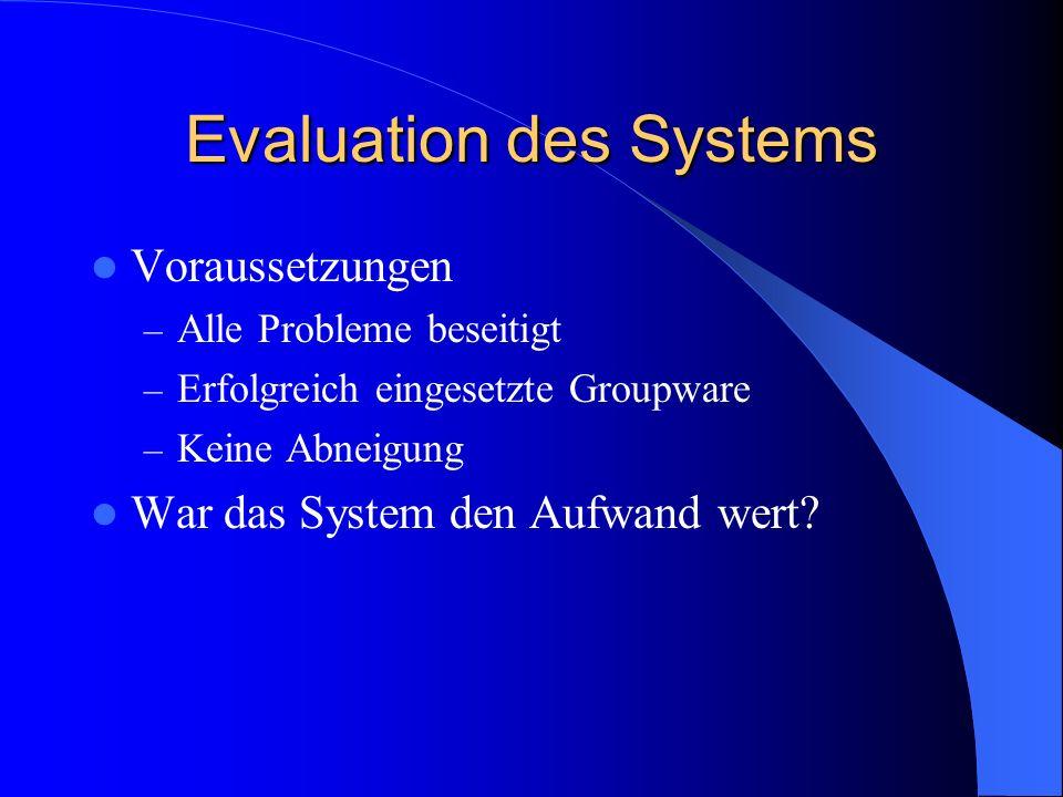 Evaluation des Systems Voraussetzungen – Alle Probleme beseitigt – Erfolgreich eingesetzte Groupware – Keine Abneigung War das System den Aufwand wert