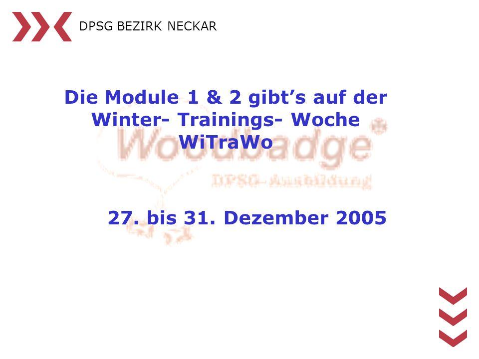 DPSG BEZIRK NECKAR Die Module 1 & 2 gibts auf der Winter- Trainings- Woche WiTraWo 27. bis 31. Dezember 2005