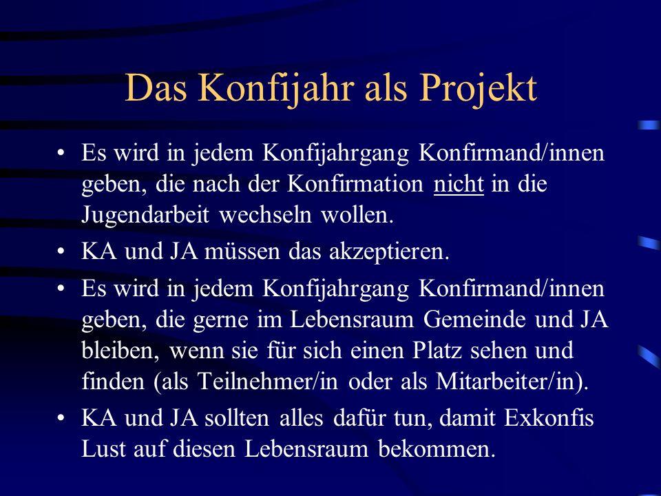 Das Konfijahr als Projekt Es wird in jedem Konfijahrgang Konfirmand/innen geben, die nach der Konfirmation nicht in die Jugendarbeit wechseln wollen.