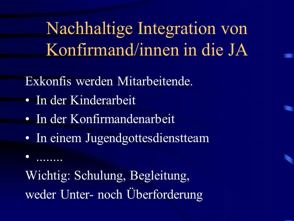 Nachhaltige Integration von Konfirmand/innen in die JA Exkonfis werden Mitarbeitende. In der Kinderarbeit In der Konfirmandenarbeit In einem Jugendgot