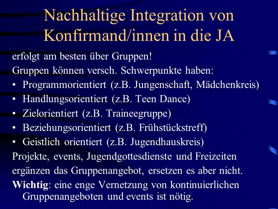 Nachhaltige Integration von Konfirmand/innen in die JA erfolgt am besten über Gruppen! Gruppen können versch. Schwerpunkte haben: Programmorientiert (