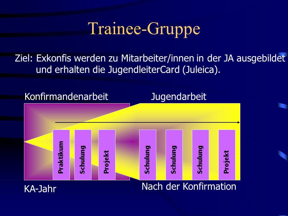 Trainee-Gruppe Ziel: Exkonfis werden zu Mitarbeiter/innen in der JA ausgebildet und erhalten die JugendleiterCard (Juleica). KA-Jahr Nach der Konfirma