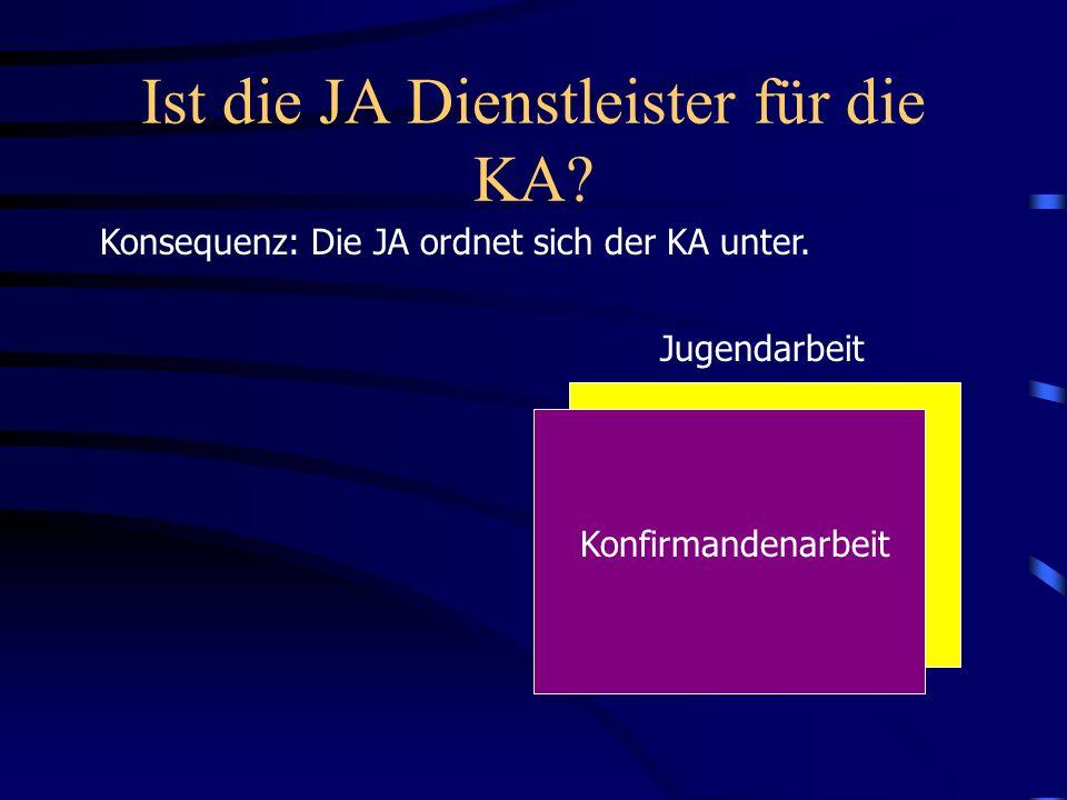 Ist die JA Dienstleister für die KA? Konsequenz: Die JA ordnet sich der KA unter. Jugendarbeit Konfirmandenarbeit