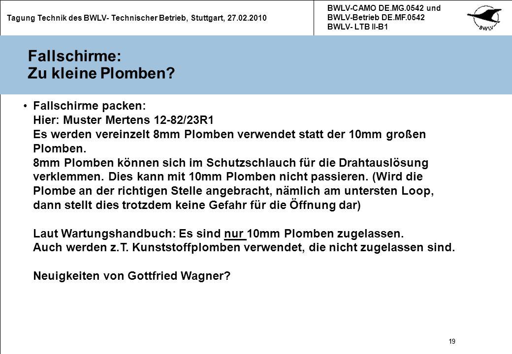 19 Tagung Technik des BWLV- Technischer Betrieb, Stuttgart, 27.02.2010 BWLV-CAMO DE.MG.0542 und BWLV-Betrieb DE.MF.0542 BWLV- LTB II-B1 19 Fallschirme