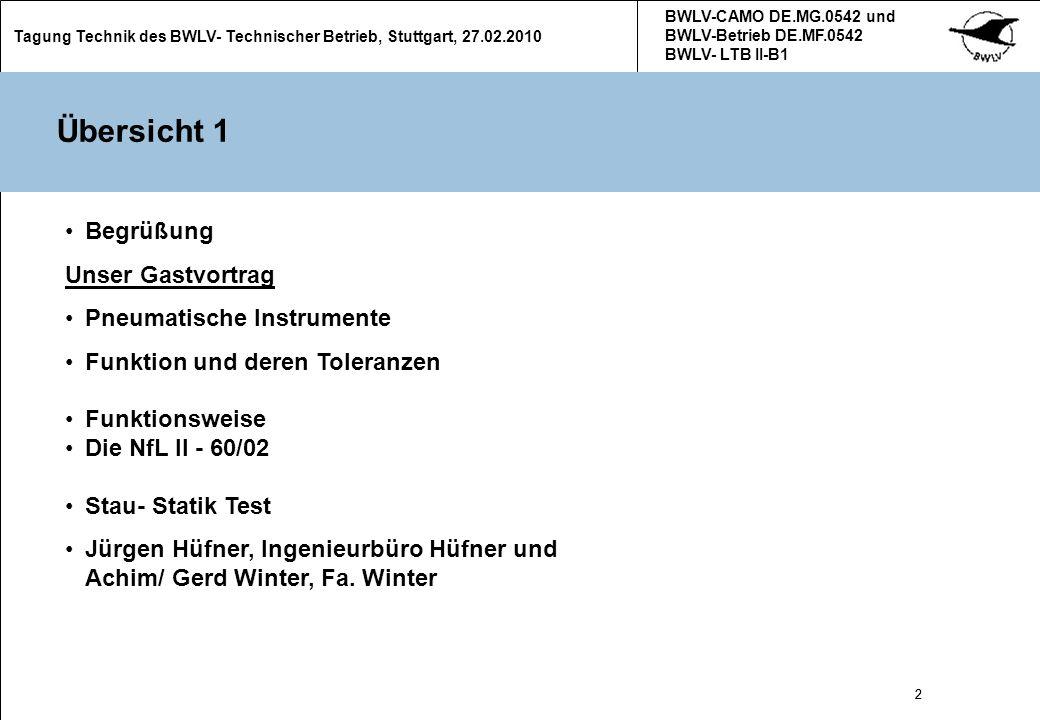 2 Tagung Technik des BWLV- Technischer Betrieb, Stuttgart, 27.02.2010 BWLV-CAMO DE.MG.0542 und BWLV-Betrieb DE.MF.0542 BWLV- LTB II-B1 2 Übersicht 1 B