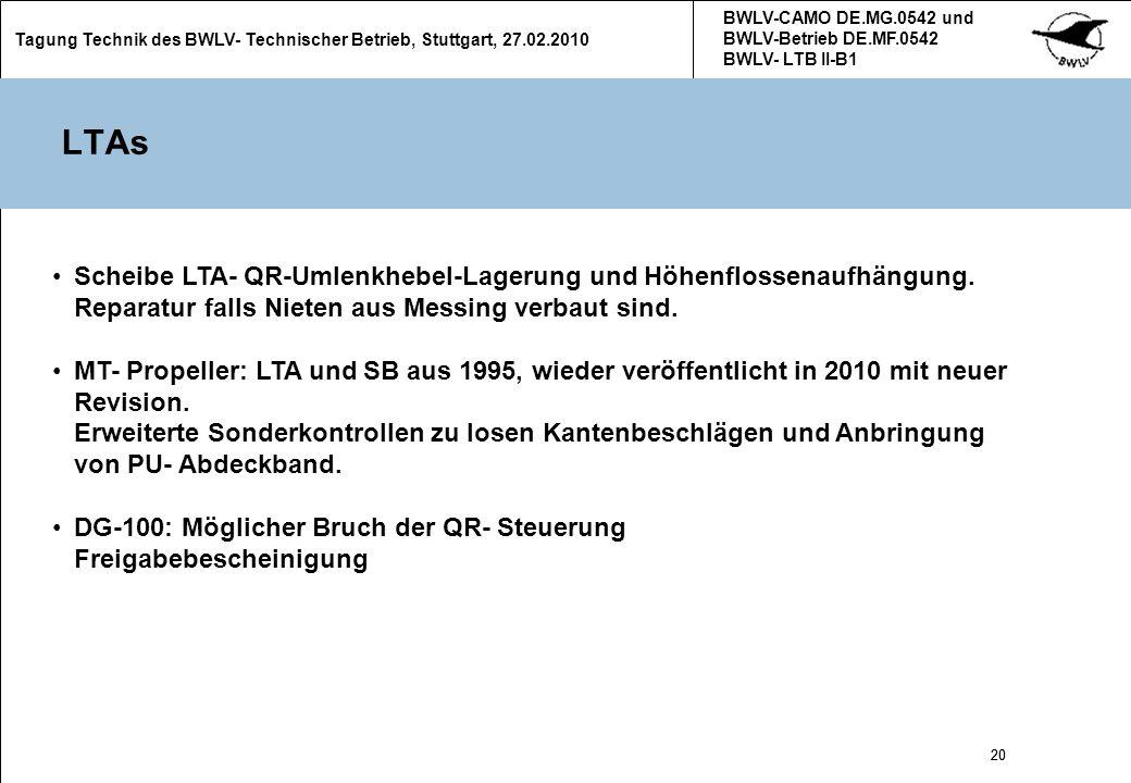 20 Tagung Technik des BWLV- Technischer Betrieb, Stuttgart, 27.02.2010 BWLV-CAMO DE.MG.0542 und BWLV-Betrieb DE.MF.0542 BWLV- LTB II-B1 20 LTAs Scheib