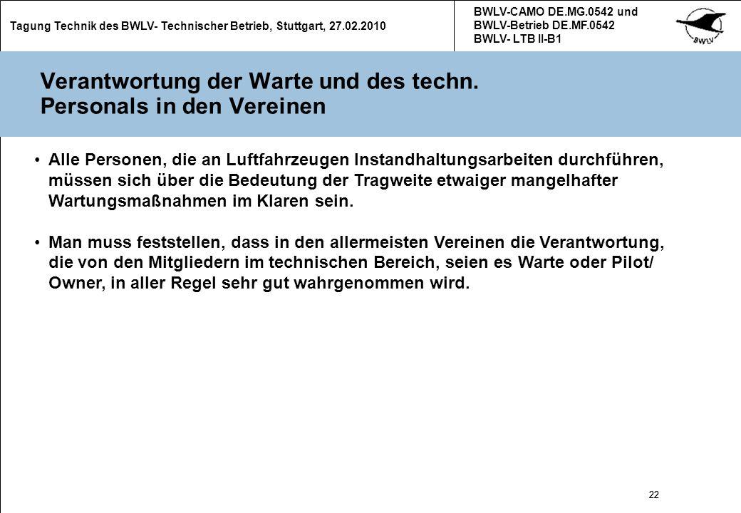 22 Tagung Technik des BWLV- Technischer Betrieb, Stuttgart, 27.02.2010 BWLV-CAMO DE.MG.0542 und BWLV-Betrieb DE.MF.0542 BWLV- LTB II-B1 22 Verantwortu