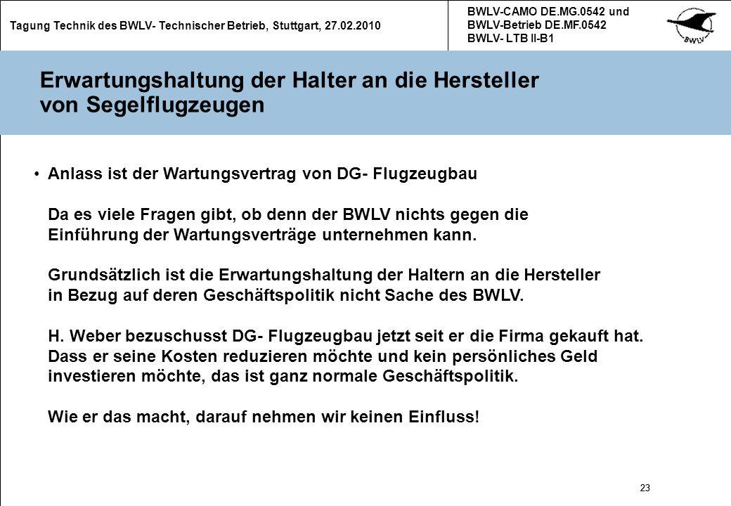 23 Tagung Technik des BWLV- Technischer Betrieb, Stuttgart, 27.02.2010 BWLV-CAMO DE.MG.0542 und BWLV-Betrieb DE.MF.0542 BWLV- LTB II-B1 23 Erwartungsh