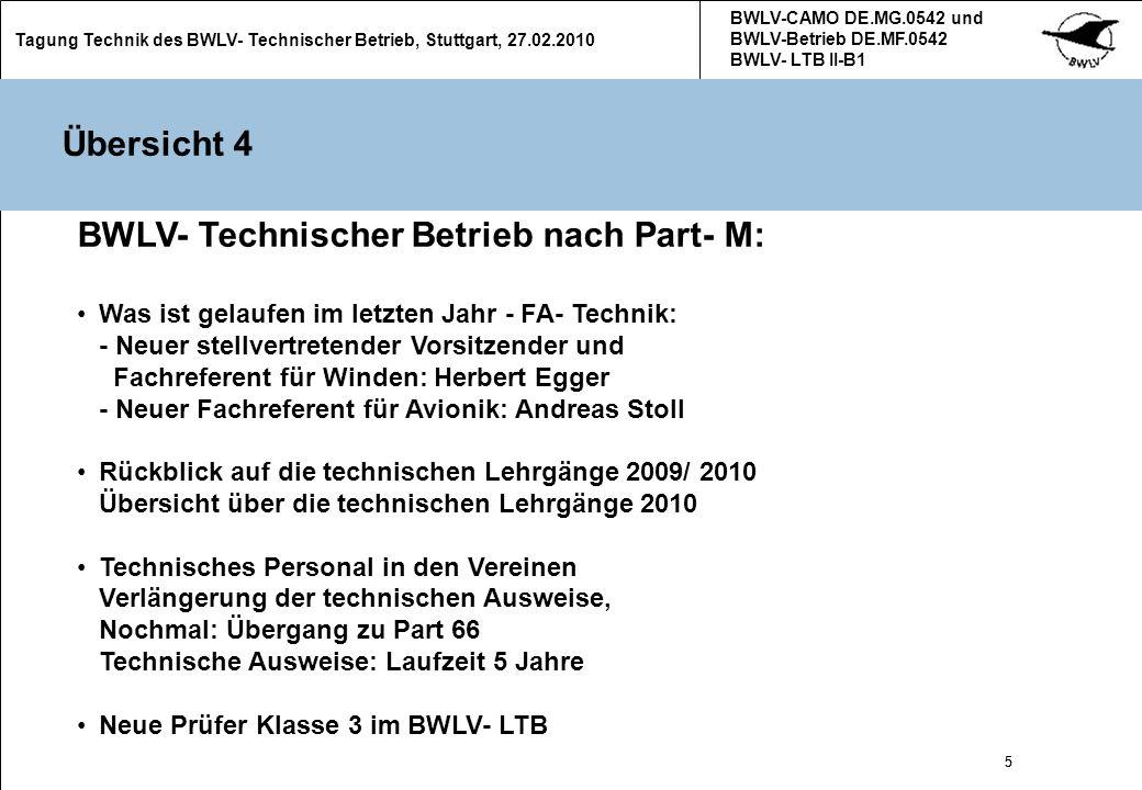 16 Tagung Technik des BWLV- Technischer Betrieb, Stuttgart, 27.02.2010 BWLV-CAMO DE.MG.0542 und BWLV-Betrieb DE.MF.0542 BWLV- LTB II-B1 16 Instandhaltungsprogramme für Klapptriebwerke Die Einhaltung der Betriebszeiten bei Klapptriebwerken in Segelflugzeugen ist nicht einfach zu bewerkstelligen.