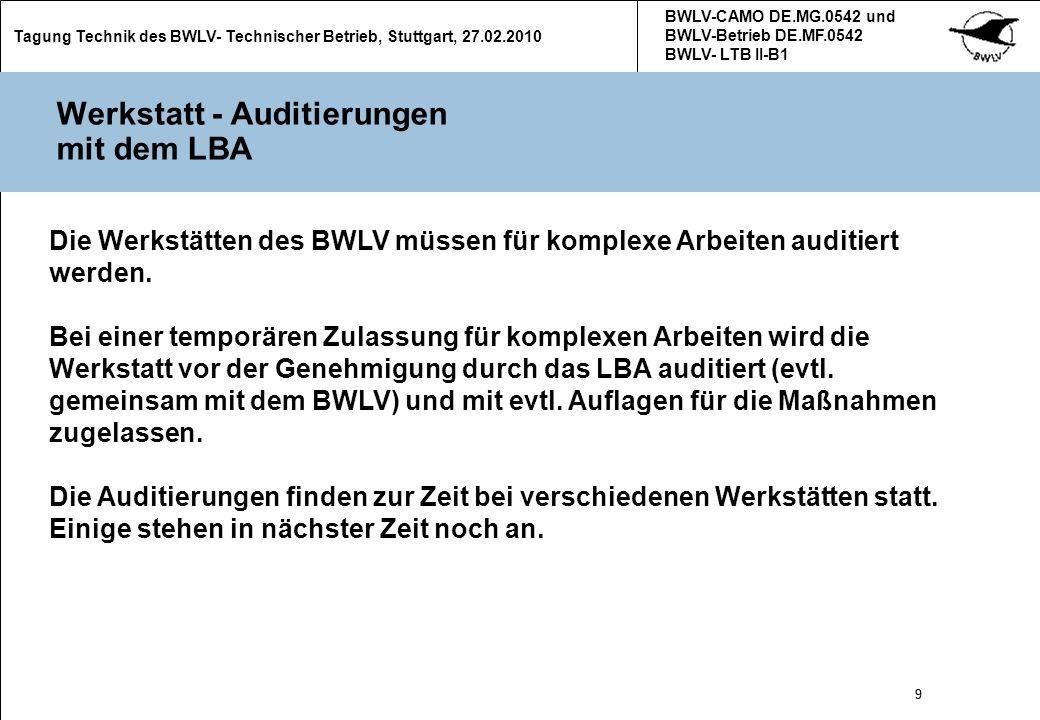 10 Tagung Technik des BWLV- Technischer Betrieb, Stuttgart, 27.02.2010 BWLV-CAMO DE.MG.0542 und BWLV-Betrieb DE.MF.0542 BWLV- LTB II-B1 10 (Neue) Formulare (1) Im Zuge der Einführung des Part-M wurden alle Formulare überarbeitet Alle Formulare, Informationen zum Umgang mit der neuen technischen Situation unter Part M und die Handbücher der technischen BWLV- Betriebe stehen im Download- Bereich auf der BWLV- Homepage zum Download zur Verfügung.